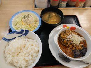 茄子とネギの香味醤油ハンバーグ定食ポテサラセット